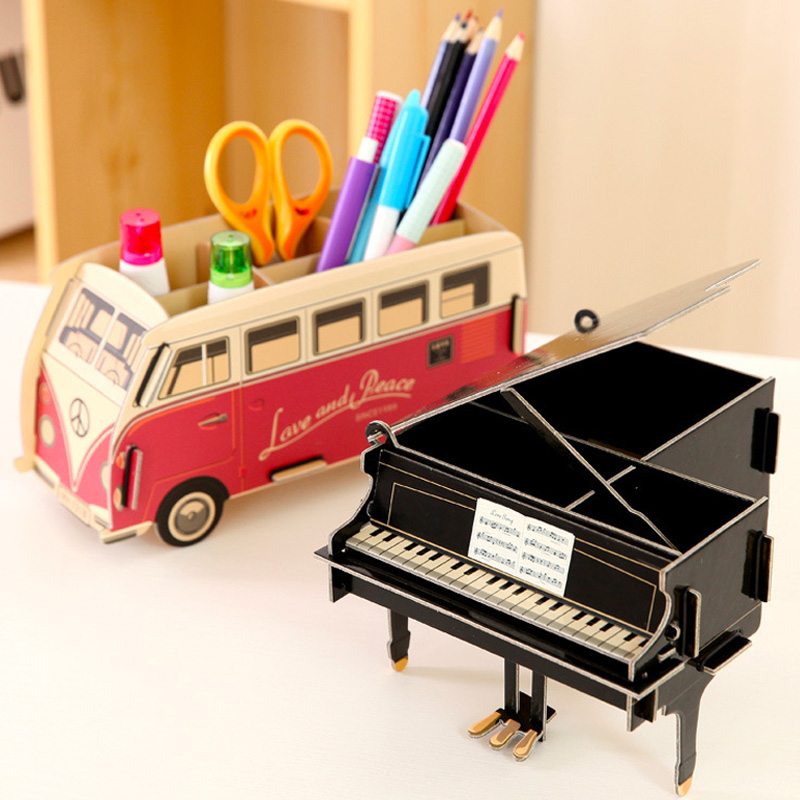 1PCS Piano Creative Pen Holder Pencil Organizer DIY Desk Tidy Container Paper Pen Holder For Student School Office Stationery 1pcs black piano diy puzzle pen holder pens stand multifunction pencil holders for desk office scool supplies stationery gifts
