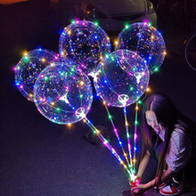 Round Bubble 18inch LED Balloons Luminous Wave Helium Balls Rod Support Lights Wedding Party Christmas Decoration