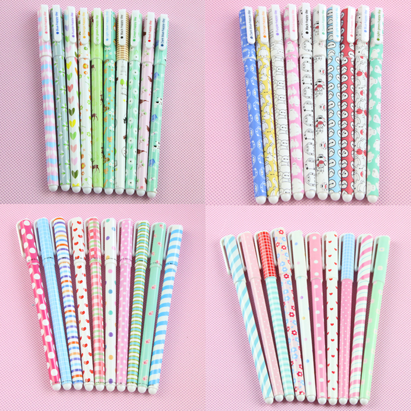 10 Pcs/lot Kawaii Cartoon Colorful Gel Pen Set Cute Korean Stationery Pens For Writting Office School Supplies Gift 2017 5packs lot 10 colors new cute cartoon colored gel pen set kawaii stationery gift office