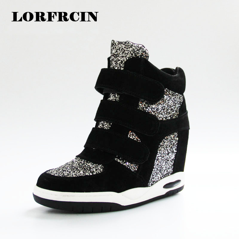 ФОТО 2017 Autumn Winter Women Ankle Boots High Top Women Casual Shoes Hidden Increasing Shoes Sequins Women Shoes LORFRCIN