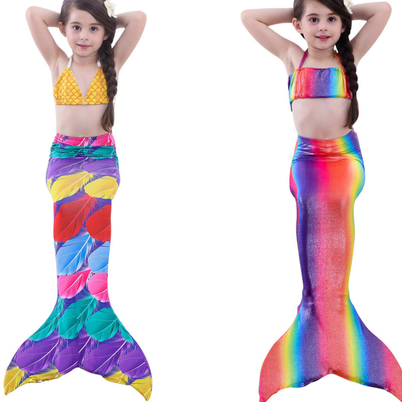 3PCS/Set The Little Mermaid Tail Costume Princess Ariel Children mermaid tails for swimming Cosplay Kids for Girl Fancy Swimsuit