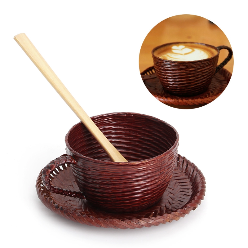 VFGTERTE 3PCS/<font><b>SET</b></font> Vintage Bamboo <font><b>Coffee</b></font> <font><b>Cup</b></font> and Saucer Spoon Kit Woven Impermeable Leakage <font><b>Coffee</b></font> <font><b>Cups</b></font> <font><b>Set</b></font> Home Office Drinkware image