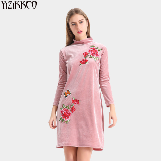 Women Dress 2017 Spring New Casual Flower Embroidery Pink Dresses ...