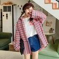 Новая Коллекция осень Корейский Стиль Полосатый Похудения Блузка Длинные Свободные Студент Опрятный Стиль Женщины Куртка Осенью