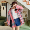 Autumn New Collection Korean Style Striped Slimming Blouse Long Loose Student Preppy Style Women Jacket In Autumn