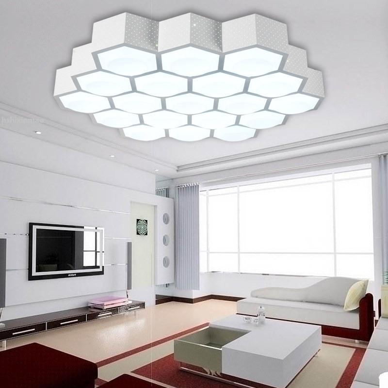 US $120.74 28% OFF|LED moderne einfache wohnzimmer Decke lichter kreative  waben licht acryl dimmen warme schlafzimmer Decke lampe-in Deckenleuchten  ...