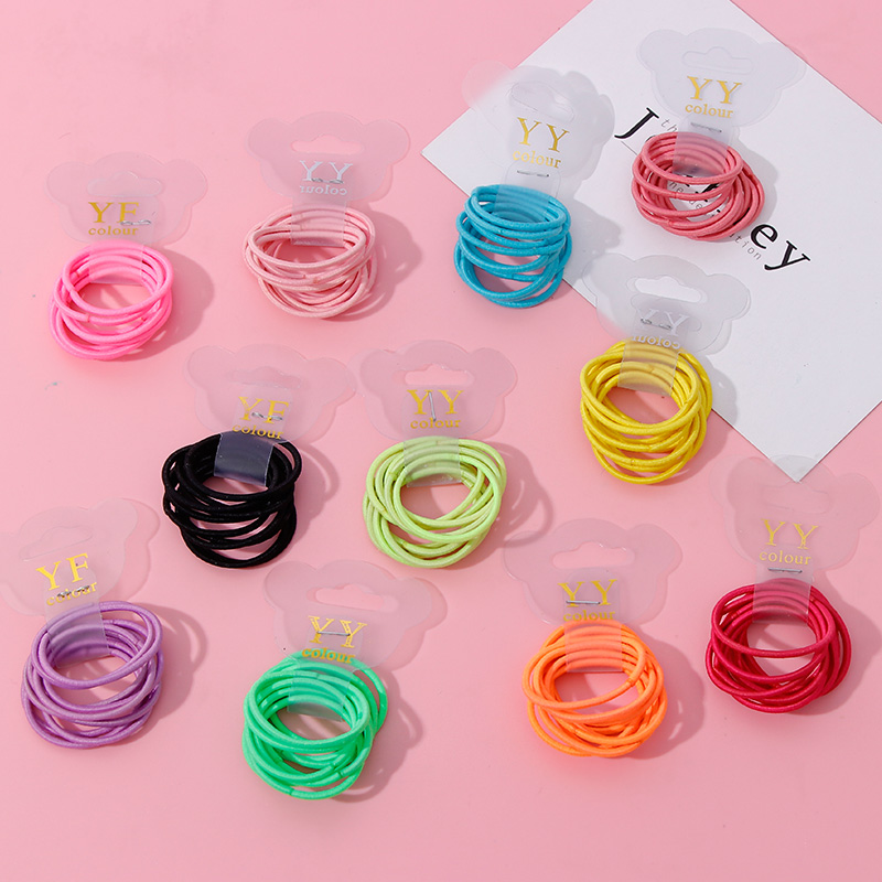 10PCS/Set 3.0 CM Cute Girls Colorful Ring Nylon Elastic Hair Bands Tie Gum Children Rubber Bands Hair Rope Kids Hair Accessories