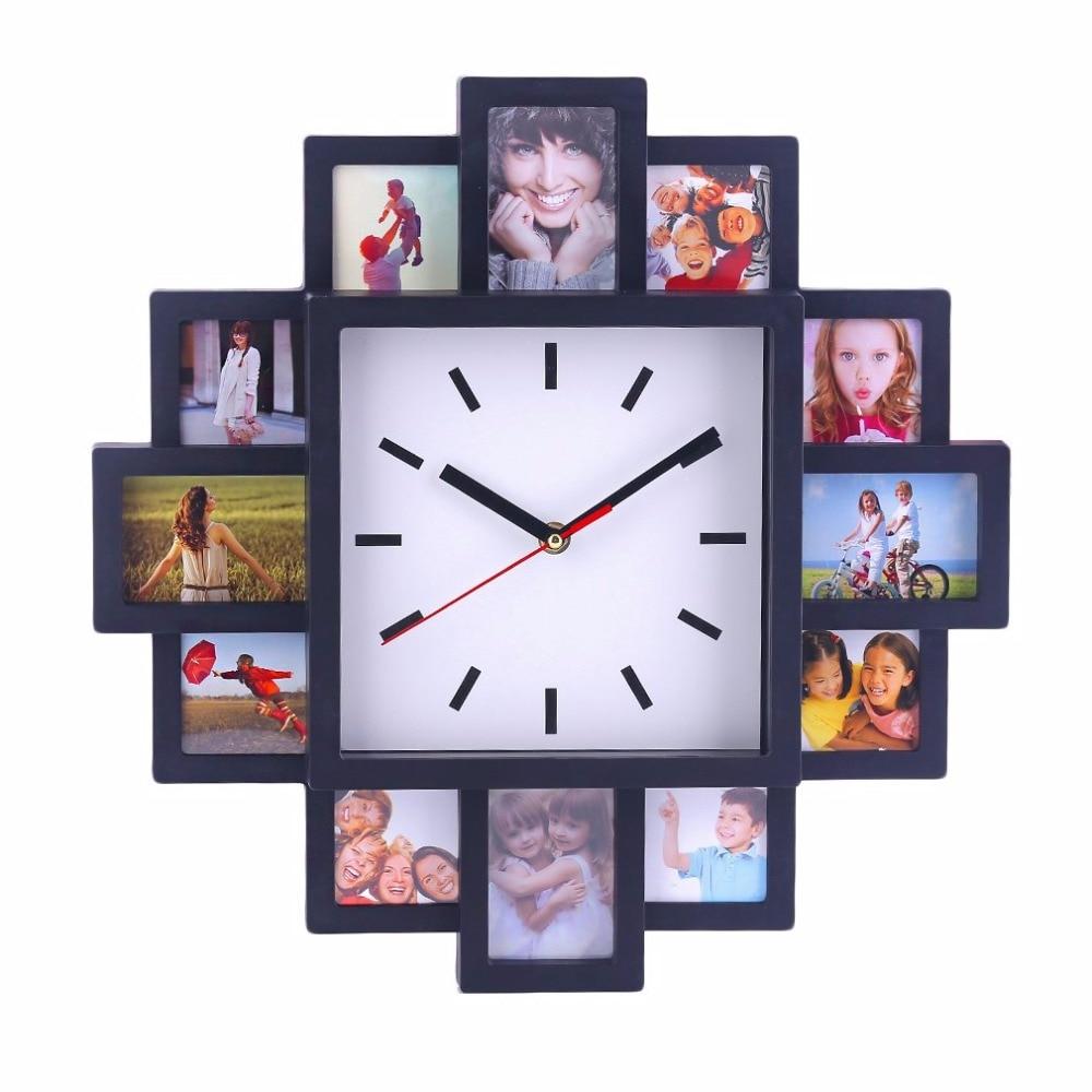 Unique DIY 12 Photo Frame-design Wall Clock Pretty Home Shop Decorative Clock Indoor Modern Design Wall-mounted Clock