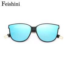FEISHINI Brand Designers Classic UV400 Sunglasses Women Cat eye Vintage 2017 FDA Standard HD Sunglass Men Transparent Plastic