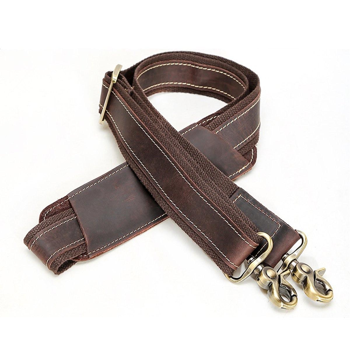 Adjustable Men Leather Cowhide Shoulder Strap Buckle Belt Messenger Bag Replacement Belt Bag Parts Accessories Detachable