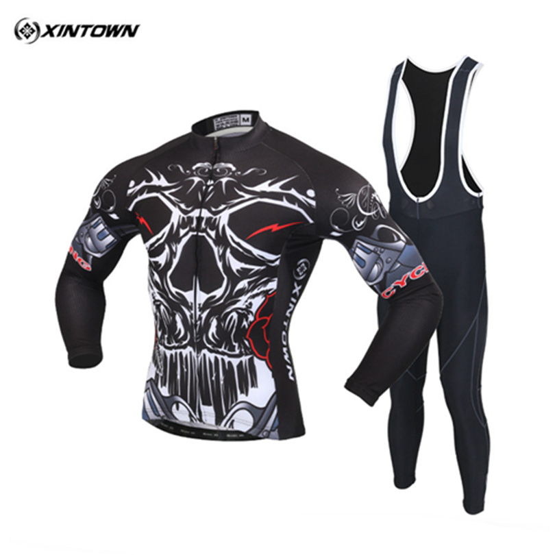 XINTOWN Long Sleeve MTB Road Bike Bicycle Cycling Jersey 3D Gel Bib Pants Frie Skull Ropa Ciclismo Cycling Clothing Breathable west biking mtb road bike jacket 3d gel padded bicycle pants breathable quick dry cycling clothing bicycle bike jersey pants