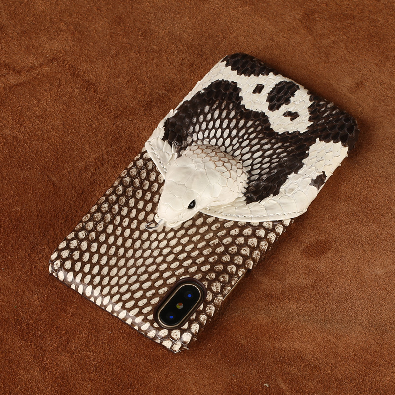 Genuine Leather Python skin Half pack Anti fall phone case For iPhone 11 11Pro XS XSmax XR 6 7 8 8plus 3D trend protective case in Fitted Cases from Cellphones Telecommunications