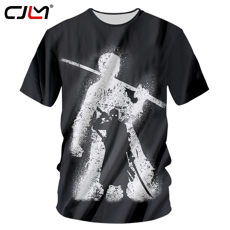 69552253f0f9 CJLM Black Tshirt Men Funny Cartoon Character Dark Zoro 3d Print T Shirts  Casual Short Sleeve Tee Shirt Unisex Tops Harajuku