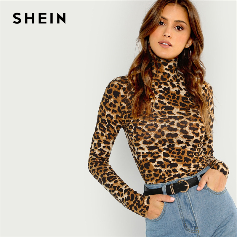 SHEIN Braun Highstreet Büro Dame High Neck Leopard Druck Ausgestattet Pullover Lange Hülse T 2018 Herbst Casual Frauen T-shirt Top
