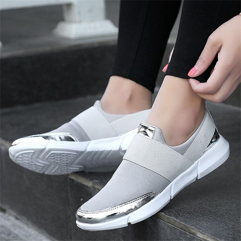 Fashion Plus Size Summer Women Shoes Ladies Spring Air Mesh Slip On Casual Women Flats Female Walking Outdoor Footwear DC98 2018 women summer slip on breathable flat shoes leisure female footwear fashion ladies canvas shoes women casual shoes hld919