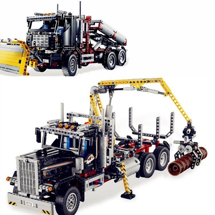 Compatible with Lego Technic Series 9397 model 20059 1338pcs Logging Truck Set building blocks Figure bricks toys for children compatible with lego technic series 8052 20027 720pcs container truck building blocks figure bricks toys for children