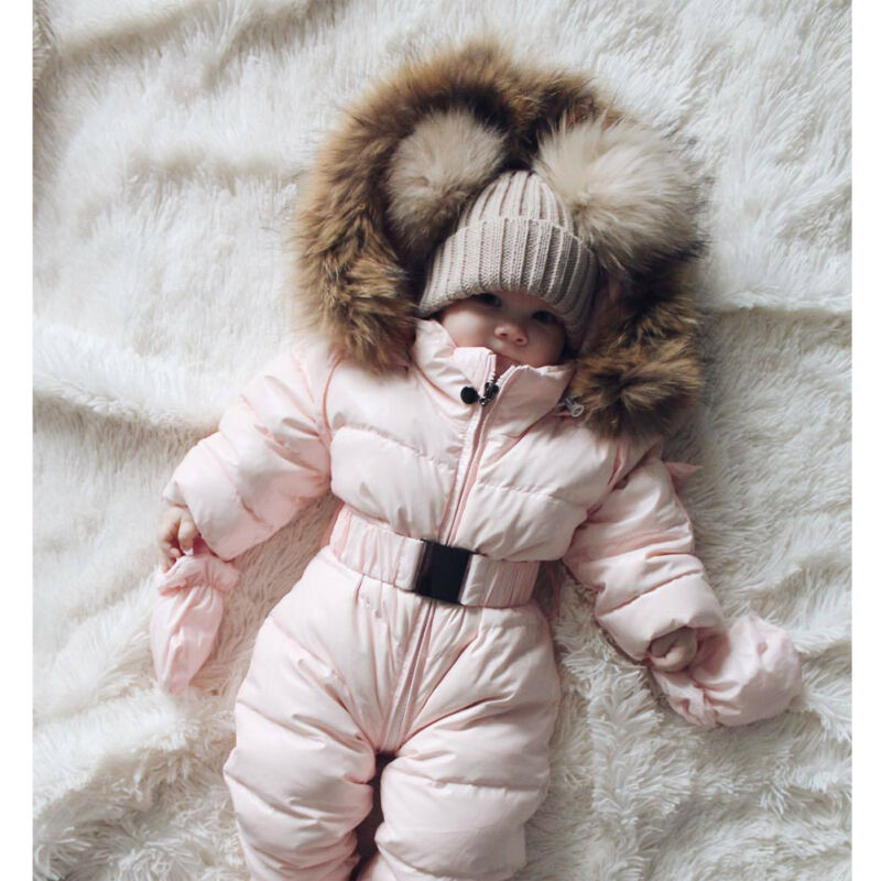 Winter Warm Newborn Baby Snow Wear Boy Girl Cotton Hooded Romper Jumpsuit Outfit Cute Pink Clothes 0-3Years(China)
