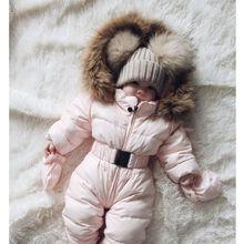 Зимняя Теплая Одежда для новорожденных хлопковый комбинезон с капюшоном для мальчиков и девочек, комбинезон милая розовая одежда для детей от 0 до 3 лет