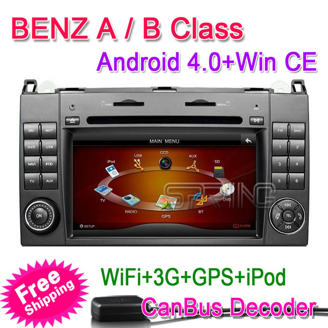 "FREEShipping 2Din  7"" Car PC DVD GPS Android 4.0+ 1G CPU +512M DDR2+4G For Mercedes Benz A Class W169/ B Calss W245 (2004-2011)"