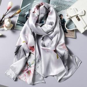 Image 2 - DANKEYISI Delle Donne di Seta Lunga Sciarpa Scialle Femminile Delle Donne di Alta Qualità 100% Pura Seta Sciarpe Wraps Lady Foulard Hijab Sciarpe