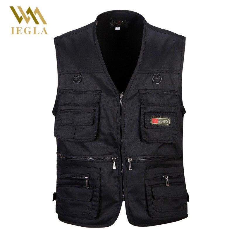 Homme gilet hommes mode coton sans manches vestes noir décontracté gilets de pêche avec beaucoup de poches déchargement gilet