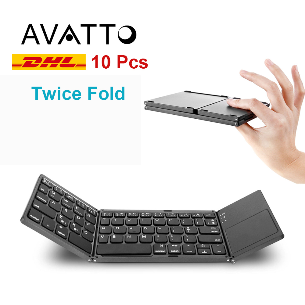 Wholesale Portable Folding Bluetooth Keyboard Wireless Foldable Touchpad Keypad for IOS / Android / Windows ipad Tablet Phone PC [avatto] a20 pocket leather folding mini keyboard bluetooth foldable wireless keypad for iphone android phone tablet ipad pc