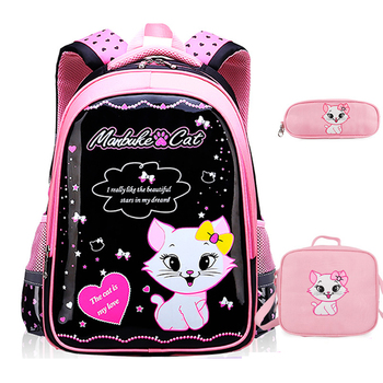 New Children School Bags For Girls Backpacks Cartoon Cat Bookbags Kids Backpack Knapsack mochila infantil menino - discount item  30% OFF School Bags