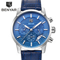 BENYAR Brand Mens Watches Top Brand Luxury Business Leather Wrist Watch Male Sport Chronograph Quartz Watch Relogio Masculino