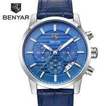 BENYAR Marca Mens Relojes de Primeras Marcas de Lujo de Negocios Reloj de Pulsera de Cuero Masculino Deporte Cronógrafo Reloj de Cuarzo Relogio masculino