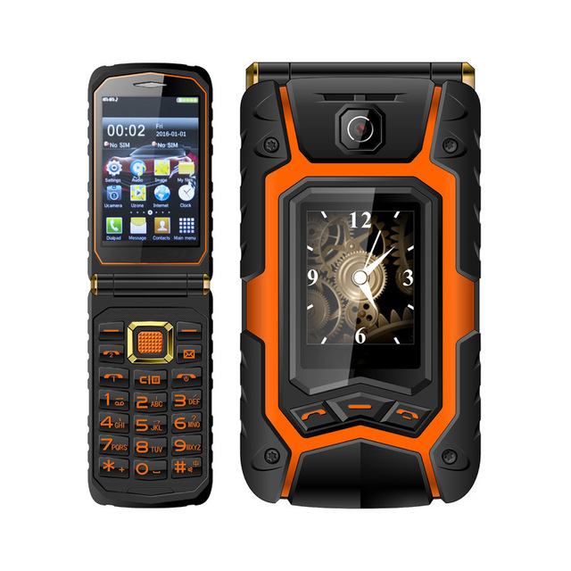 Land Rover X9 Dual Touch Screen Flip Senior Push-Button Mobile Phone Dual SIM card FM Radio CellPhone can add Russian Keyboard