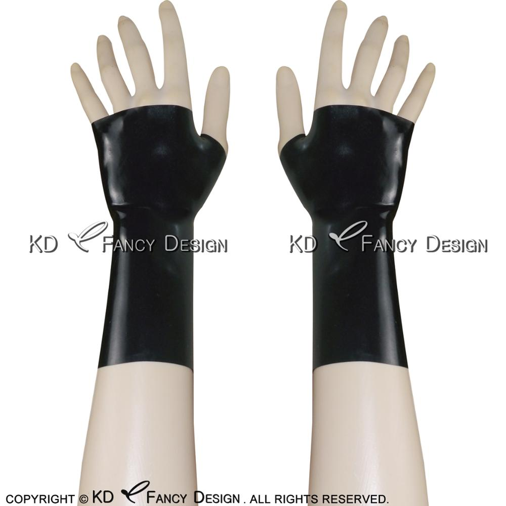 Black Sexy Short Latex Glove Fingerless Rubber Mittens Plus Size ST-0017