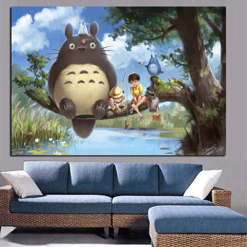 Print Anime Movie Art Hayao Miyazaki Totoro Neighbor on Canvas Poster Modern Cartoon Wall Picture for Living Room Cuadros Decor image