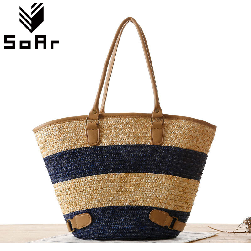 Soar Hot Sale 2017 Summer Beach Handbag Woven Straw Bag In