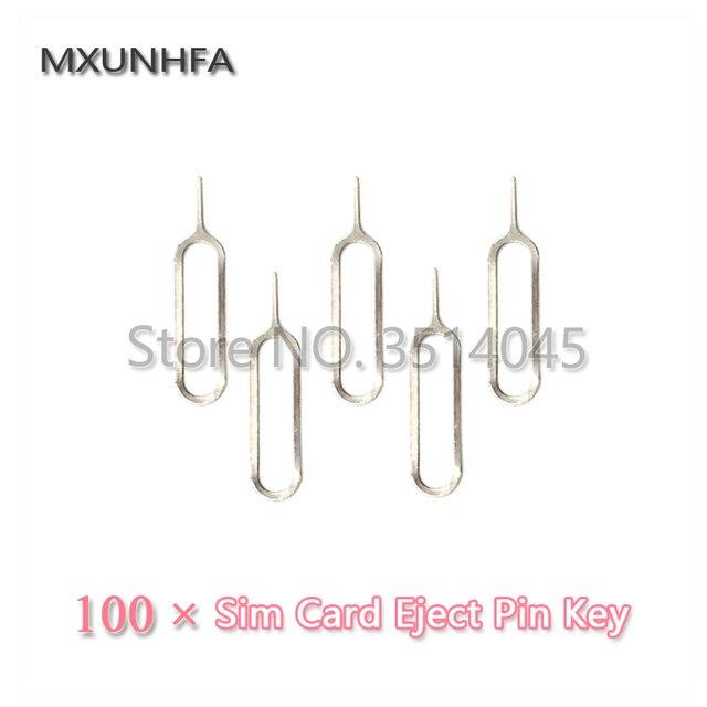 100 piezas de Metal de la bandeja de la tarjeta SIM de eliminación de la llave del Pin de expulsión de la aguja de la herramienta para el iPhone 8 7 6 S Plus X iPad Samsung S7 S8 para Xiaomi