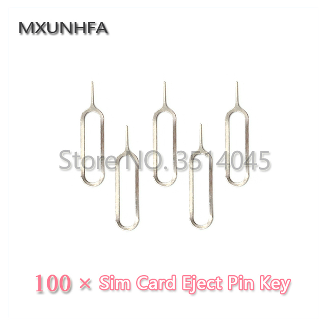 100pcs Metal SIM Card Tray Removal Eject Pin Key Open Tool Needle For iPhone 8 7 6S Plus X iPad Samsung S7 S8 For Xiaomi