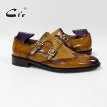 cie Wingtips Medallion Handmade Men's Double Monk Straps Calf Leather Shoe Breathable Blake/Mackay Craft Patina Brown MS-00-16