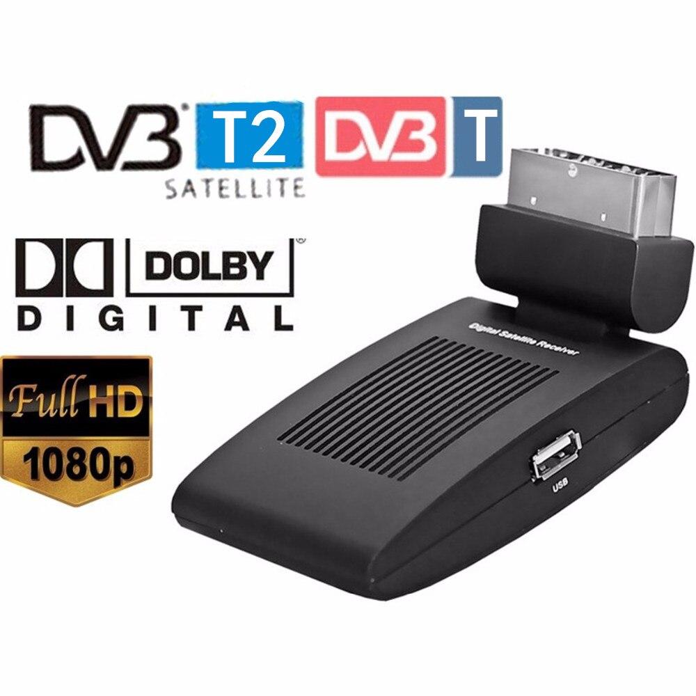 Mini scart SAT free satellite tv channels receiver dvb-T2 dvb T satellite receiver HD DVB-T2 Digital TV Satellite Receiver
