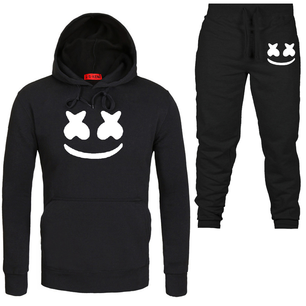 New Fashion Smile Hoodies Men Hip Hop Fashion Streetwear Hoodie SweatshirtS+trousers Sport suit Men/woman Brand Clothes