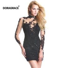 New Fashion Applique Lace High Neck Open Back Long Sleeve Cocktail Dresses Short Party Dress DGC003