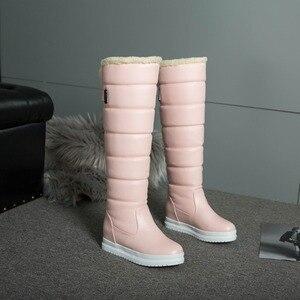 Image 5 - Nga Mùa Đông Giày Nữ Ấm Áp Đầu Gối Cao Giày Mũi Tròn Xuống Lông Thời Trang Nữ Đùi Ủng Giày Chống Nước Botas n318