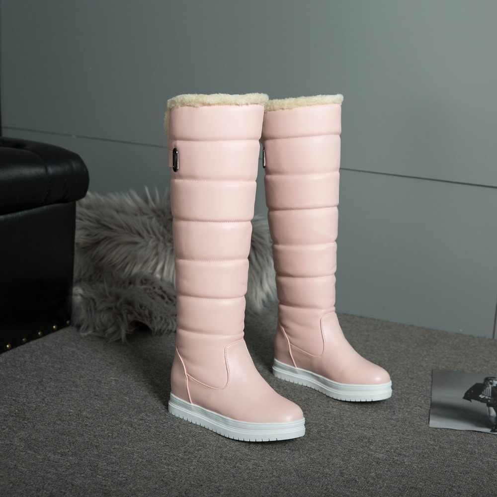 Rusya kış botları kadınlar sıcak diz yüksek çizmeler yuvarlak ayak aşağı kürk bayanlar moda uyluk kar botları ayakkabı su geçirmez botas n318