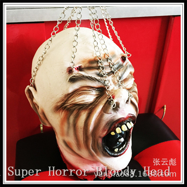 funny horror halloween decoration and prop rubber horror scary human head ghost head for decorations and