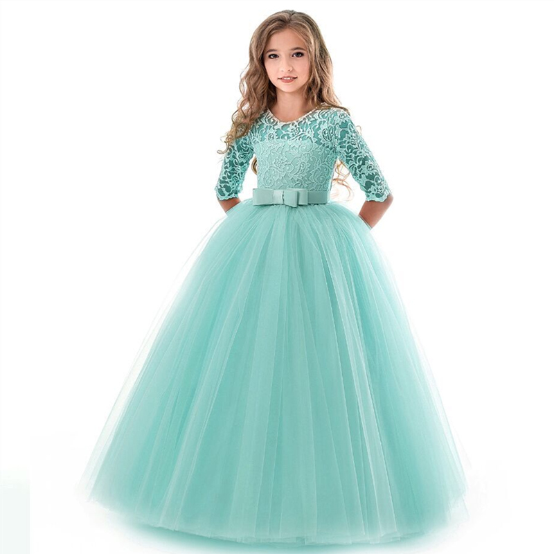 New Princess Lace Dress Kids Flower Embroidery Dress For Girls Vintage Children Dresses For Wedding Party Formal Ball Gown 14TNew Princess Lace Dress Kids Flower Embroidery Dress For Girls Vintage Children Dresses For Wedding Party Formal Ball Gown 14T