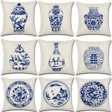 Funda de cojín de estilo chino Vintage de algodón y lino azul y blanco de porcelana funda de almohada para sofá decorativo para casa o auto Fundas de almohadas
