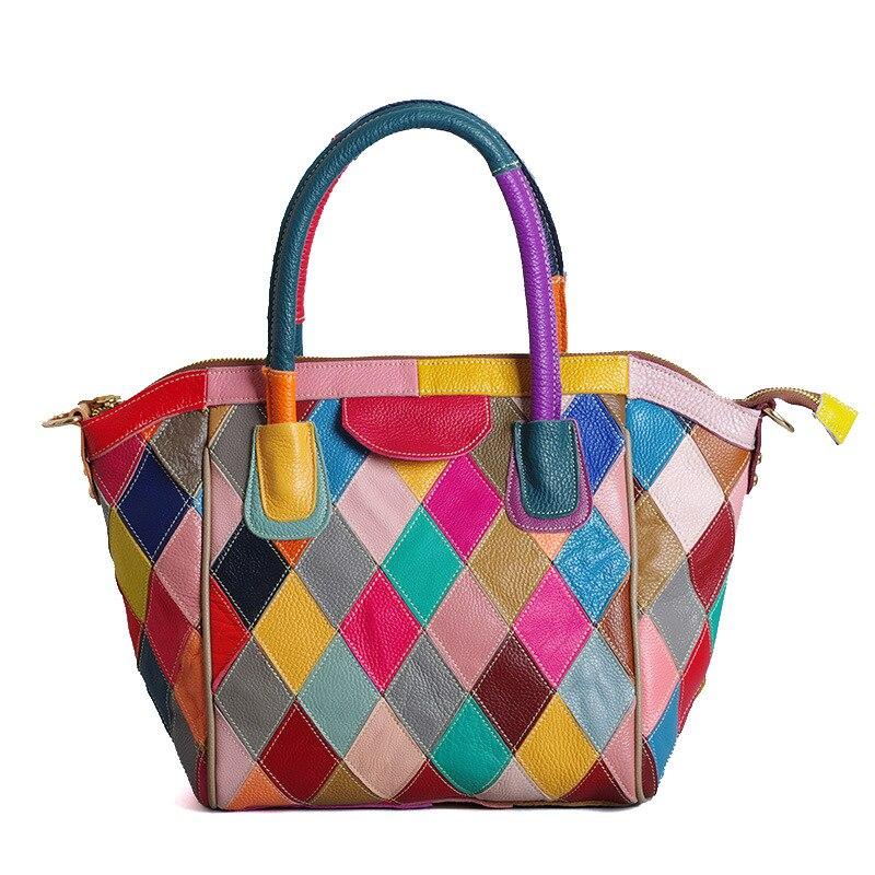 357 New Fashion Cowhide Leather Handbags Casual Colour Women's Totes Slanting Lady's Shoulder Bag