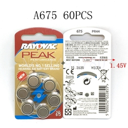 60 PCS NEW Zinc Air 1.45V Rayovac Peak Zinc Air Hearing Aid Batteries 675A A675 675 PR44 Hearing Aid Battery Free Shipping!