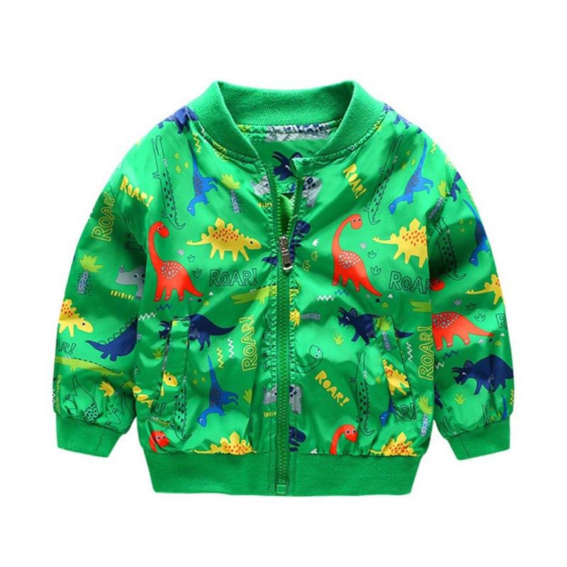 Autumn Toddler Girl Boy Jackets Fashion Cartoon Dinosaur Printing Coat  Zipper Outwaer With Pockets