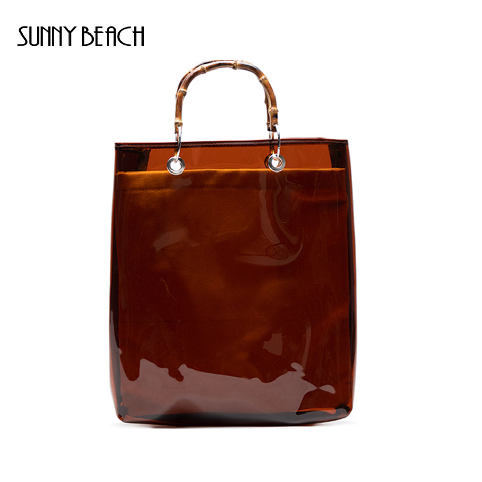 SUNNY BEACH Brown Bamboo Handle Summer Composite Transparent Bag Tote Bag Women Hand Bags PVC Clear Big Handbag