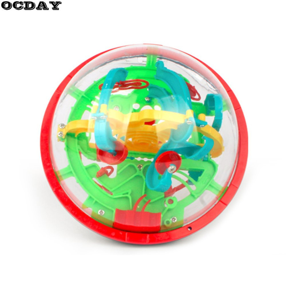 100 Levels 3D Labyrinth Magic Rolling Globe Ball Marble Puzzle Game Kids IQ Early Educational Toys Magic Intellect Maze Ball