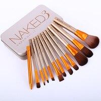12pcs Sets Makeup Brush Set Gold Tin Portable Explosion Makeup Brush Sets Wholesale Pinceaux Maquillage Brand